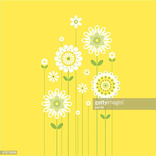 Growing Retro Spring Flowers on Yellow