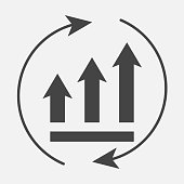 Growth graph with arrows in a circle. Vector business icon schedule.  Layers grouped for easy editing illustration. For your design.