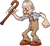 Grumpy old man. Vector clip art illustration with simple gradients. All in a single layer.