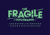 Vector of stylized grunge font and alphabet