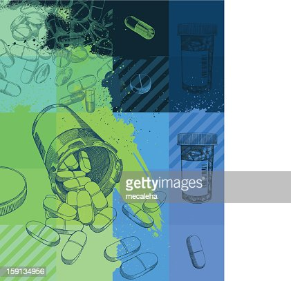 A grunge background of pharmaceuticals : Arte vectorial