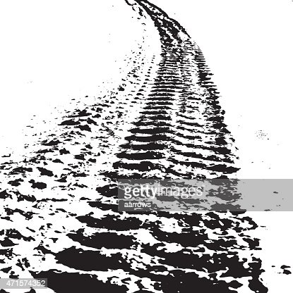 Grunge Background With Black Tire Track Vector Art | Thinkstock