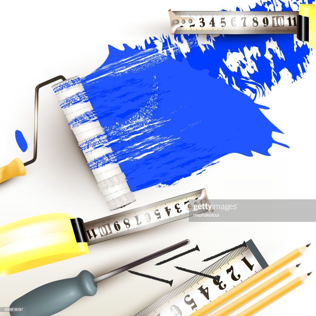 Grunge background with repair instruments roll, ruler and pencil : Vector Art