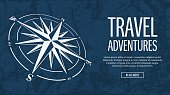 Blue horizontal banner with compass rose on grunge background. Vector illustration.