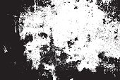 Grunge black and white scratched textured background. Abstract messy and distressed element. (vector)