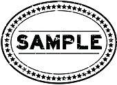 Grunge black sample oval rubber seal stamp on white background