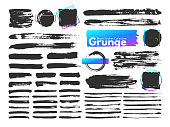 Grunge brush strokes. Watercolor paintbrush stroke line. Dirty square frames, dry messy paint brushes and decoration splatter rectangular brushed frame, scratch texture vector isolated icon set