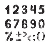 Grunge brush texture black vector numbers. Set of hand drawing brush calligraphy alphabet on a white background. Vector illustration.