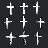 Grunge christian cross icons. White cross icons on black background. Vector illustration