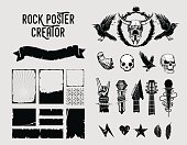 Rock poster creator. Grunge design elements. Black and white collection. Tatto style