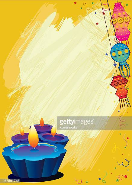 Grunge Diwali greeting card in yellow