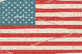 Grunge flag of USA. Vector illustration with grunge texture.