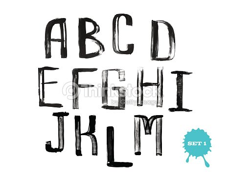Grunge Handwritten Alphabet Modern Calligraphy Capital Letters Vector Art
