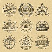 Grunge Hipster Retro Design Insignias Logotypes Set 12. Lo-Fi Vector Vintage Elements. Cardboard Texture.