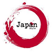 Grunge japanese circle style . Vector .
