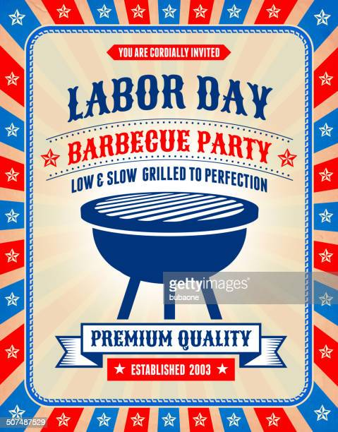 Grunge Labor Day Barbecue-Party Banner