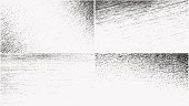 Set of grunge overlay textures. Vector illustration of black and white abstract grainy backgrounds with dust and noise for your design