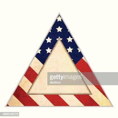 grunge patriotic frame triangle shape vector art