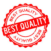 Grunge red best quality word round rubber seal stamp on white background