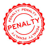 Grunge red penalty word round rubber seal stamp on white background