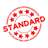 Grunge red standard wording with star icon round rubber seal stamp on white background