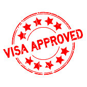 Grunge red visa approved with star icon round rubber seal stamp on white background