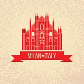 Grunge rubber stamp with symbol of Milan, Italy. Vector illustrationGrunge rubber stamp with symbol of Milan, Italy