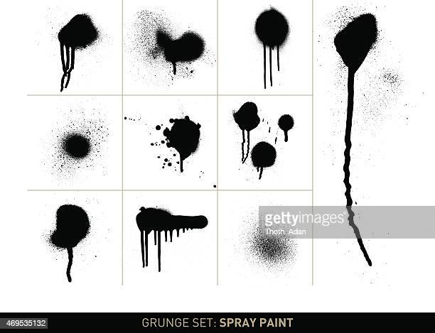 Grunge set: Spray paint in b/w