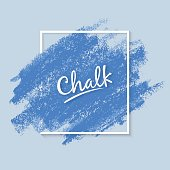 Grunge texture of chalk. Wide artistic brush. Dynamic vector strokes. Soft blue colors of the palette. Template for registration of stickers, banners, posters.