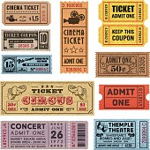 A collection of 11 vector grunted Tickets, Vector file is organized with layers, with every ticket divided into 3 layers, separating Background Shape from the texture effect and text.