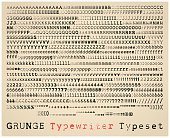 Grunge semisans typewriter font. many alternatives for each glyph