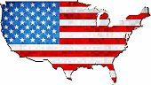 Grunge USA map with flag inside - Illustration,  Map of USA vector,   Abstract grunge mosaic flag of USA