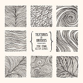 Hand drawn wavy linear textures made with ink. Artistic collection of graphic square design elements. Swirl, circle, wavy stripe, abstract line, organic background, geometric pattern. Isolated vector