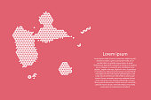 Guadeloupe map abstract schematic from white  triangles repeating pattern geometric on pink coral color  background with nodes for banner, poster, greeting card. Vector illustration.