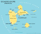 Guadeloupe Political Map with capital Basse-Terre, an overseas region of France, located in the Leeward Islands, part of the Lesser Antilles in the Caribbean. English labeling and scaling. Illustratio