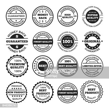 Guarantee badges and logos design set. Vector monochrome pictures with place for your text : Vector Art