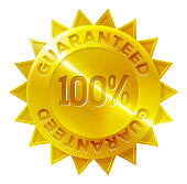 A gold medal 100 percent guaranteed shop icon with star shaped border
