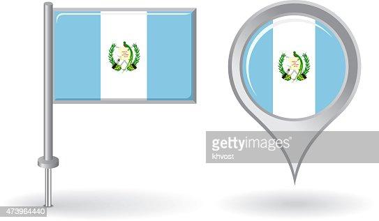 Mapa Plano Con Pin Icono De Puntero De La: Icono De Mapa De Pin De Guatemala Y Puntero Bandera Vector