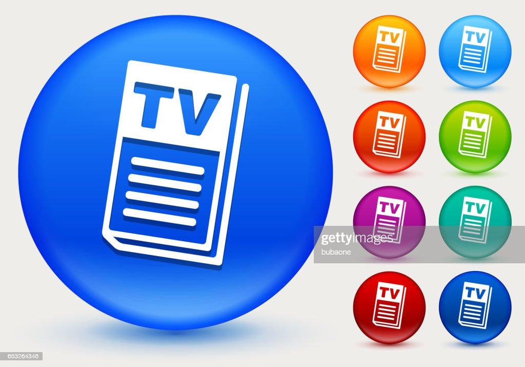 Pictogram van de TV-gids op glanzende kleur Circle knoppen : Vectorkunst