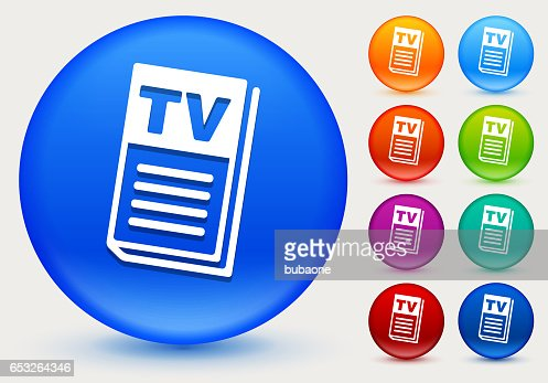 TV Guide Icon on Shiny Color Circle Buttons : Clipart vectoriel