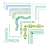 Set of vector guilloche decorative elements good for diploma, banknote and document background
