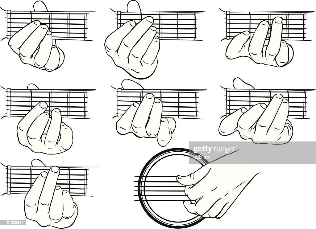 guitar chords ag and a strumming hand vector art