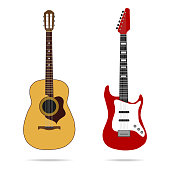 Guitar icon. Flat design, vector illustration, vector.