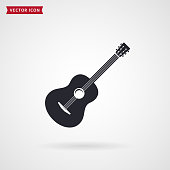 Guitar icon isolated on white background. Musical instrument. Vector symbol.
