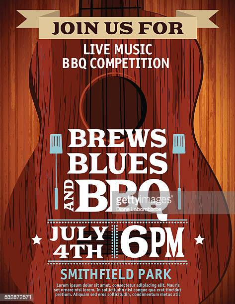 Gitarrenmusik Barbecue Veranstaltung Einladung Vorlage
