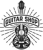 Guitar shop. Rock and roll. Design element for  label, emblem, sign. Vector illustration