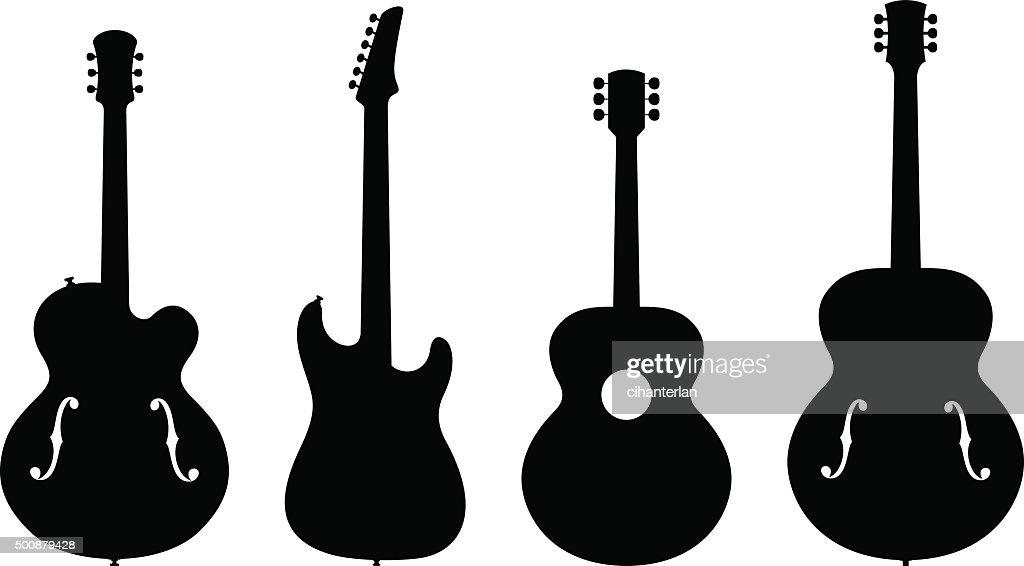 guitar silhouettes vector art thinkstock rh thinkstockphotos com guitar silhouette vector free guitar player silhouette vector