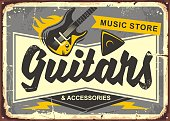 Guitar store retro advertisement sign board with electric guitar, guitar pick and creative typo. Vintage music illustration. Vector image.