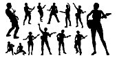 A set of guitarist musicians in detailed silhouette playing their guitars.
