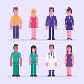Guy girl businessman businesswoman nurse doctor. Character set. Vector Illustration